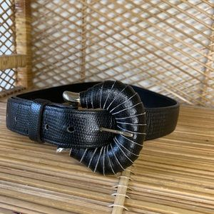 Vintage black leather belt with cool buckle